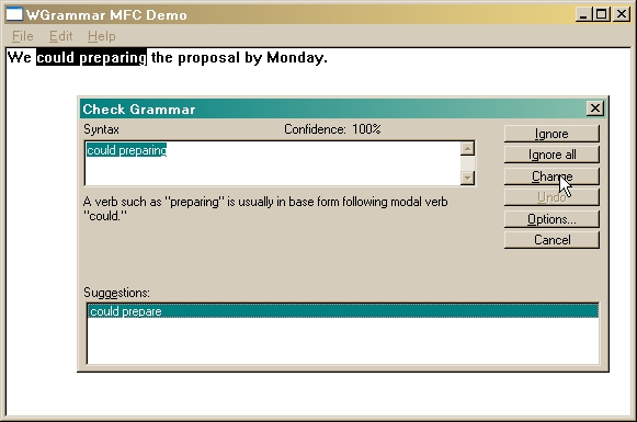 WGrammar includes sample source code in MFC, Visual Basic, and VB.NET showing how to add a grammar checker to your applications.